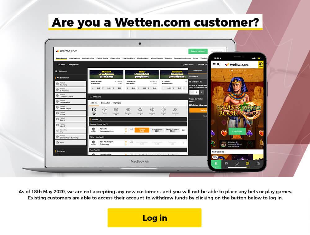 Wetten.com Customer? Click here to login