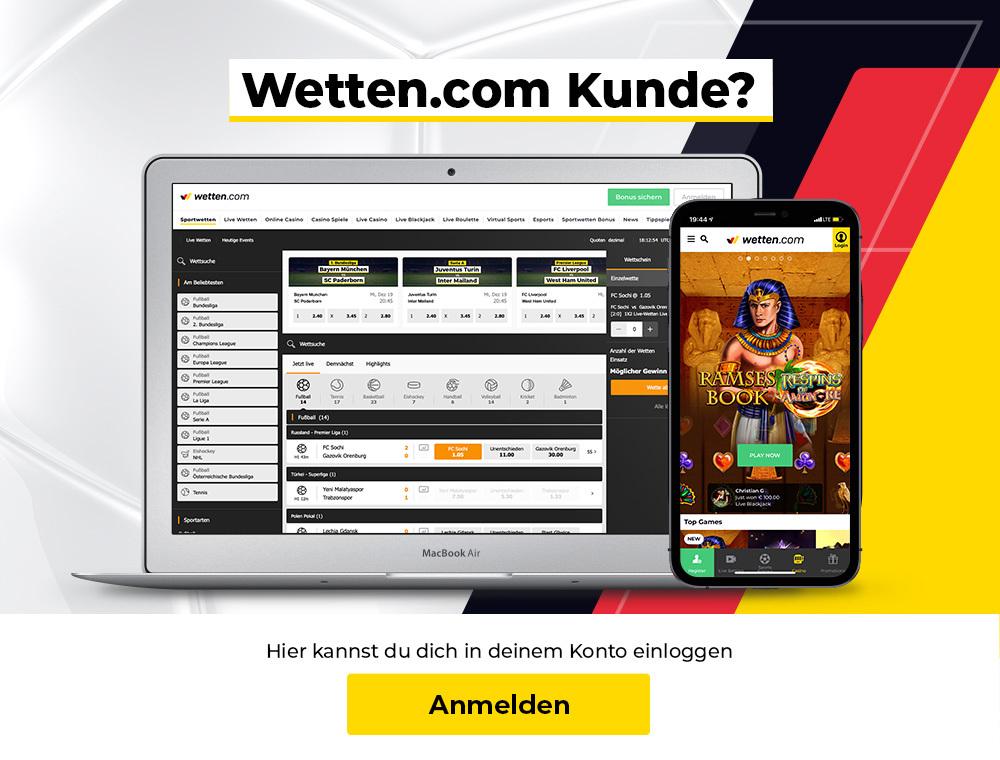 Wetten.com Kunde? Hier geht es zum Login