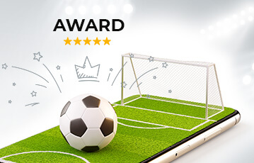 Die besten Livewetten online Fussballfeld mit Fussball und Tor 3D auf smartphone