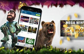 Die besten Bet at home Online Casino Games smartphone zwischen Spielcharaktere Mann Bär und Anzeige Mega Gewinn