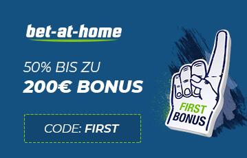 Die besten Online Wetten bet at home Code 200 Euro Bonus Illustration Hand first Bonus