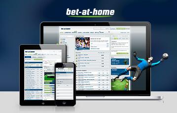 Die besten Online Wetten bet at home smartphone tablet laptop Bildschirm mit Taballenansicht und Illustration Fussballspieler