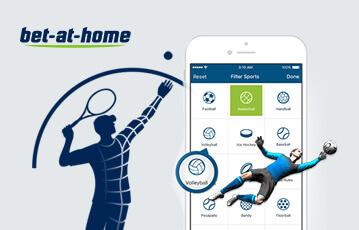 Die besten Online Wetten bet at home smartphone Bildschirm mit Überblick Sportarten Illustration Fussballspieler und Tennisspieler