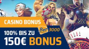 der beste Online Casino Bonus Bet3000 150 Euro Bonus Illustration Spielfiguren Pokerkarten Roulette