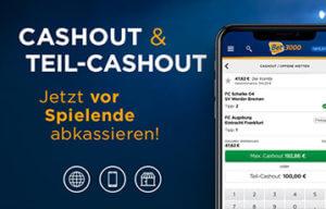Die betsen Online Sportwetten bet3000 smartphone Bildschirm Cashout und Teilcashout vor Spielende abkassieren