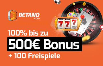 Die besten Online Casino Spiele Betano 500 Euro Bonus und 100 Freispiele Illustration Spieleautomat Walze Karten Roulett Pokerchipse