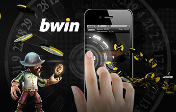 Die besten Online Casino Spiele bwin Illustration Hand auf smartphone Pokerchips Spielfigur wirft Münze