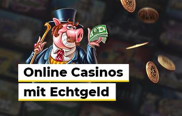 Die besten Online Casino Echtgeld Anbieter Illustration Spielfigur mit Geldscheinen in der Hand Goldmünzen