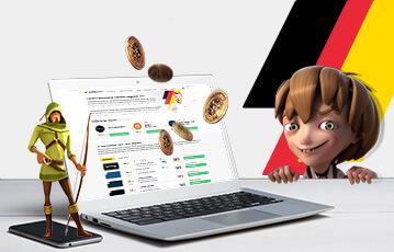 Die besten deutschen Online Casinos Laptop Goldmünzen Spielfigur mit Bogen in der Hand auf smartphone Spielfigur kleiner Junge im Hintergund