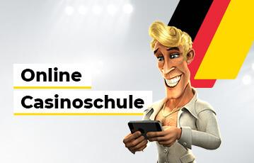 Die besten deutschen Online Casinos Illustration strahlender Mann schaut auf smartphone Online Casino Schule