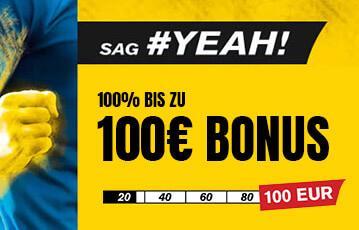 Der beste Online Sportwettenbonus interwetten 100 Euro Bonus yeah Illustration Faust