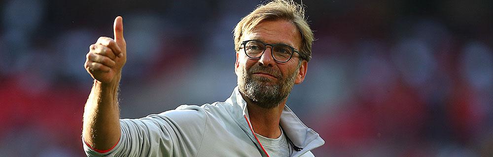 Die besten Online Sportwetten Close-up Fussballtrainer Jürgen Klopp Liverpool thump up