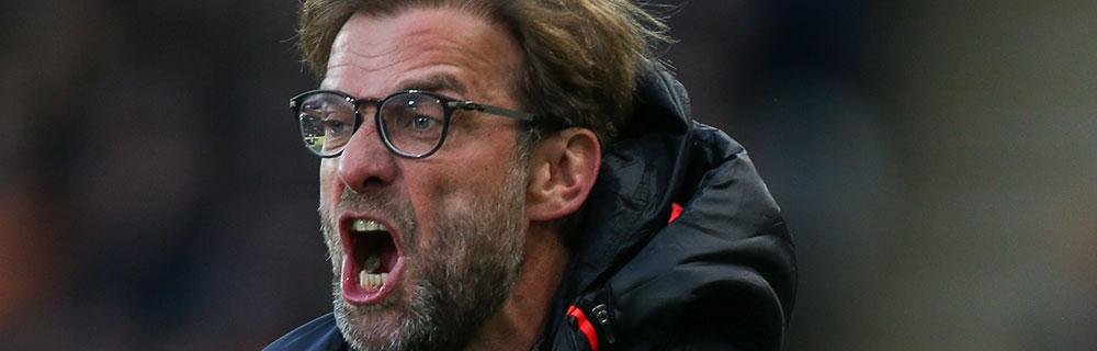 Die besten Online Sportwetten Close-up Fussballtrainer Liverpool Jürgen Klopp schreit Krise