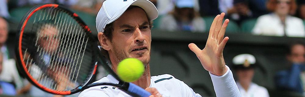 Die besten Online Sportwetten Close-up Tennisspieler im Spiel Schlag Andy Murray