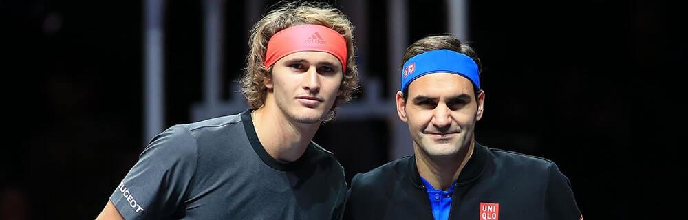 Die besten Online Sportwetten Close-up Tennisspieler Federer und Zverev