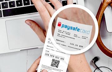 Die besten Online Wetten Hand auf Laptop paysafecard Lupe detailsansicht Karte