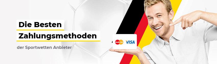 Die besten deutschen Online Sportwetten Anbieter Close-up strahlender Mann mit Karte in Hand Logo Visa