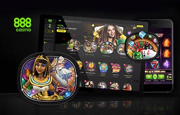 Die besten Casino Apps casino 888 tablet smartphone mit Spieleauswahl Illustration Spielfigur Kleopatra