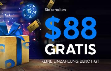 Der beste Online Pokerbonus 888 Poker Illustration Geschenk und fliegende Pokerchips Call to Action 88 Dollar gratis