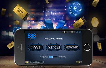Die besten Online Pokerspiele smartphone Bildschirm 888 Poker Willkommen Illustration Pokerchips und goldene Tickets in der Luft