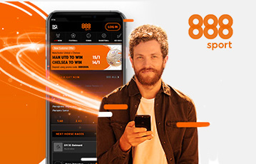 Die besten Onlline Sportwetten mobil smartphone und Mann mit smartphone in der Hand 888 sport