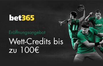Der beste Online Sportbonus bet365 call to action wett credits bis zu 100 Euro und drei Sportler in Aktion