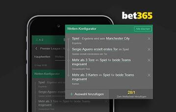 Die besten Online Sportwetten smartphone Detailsansicht bet365 Wetten-Konfigurator