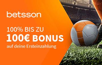 Der beste Online Sportwettenbonus betsson call to action 100 Euro Bonus Fussballrasen Fussball am Schuh