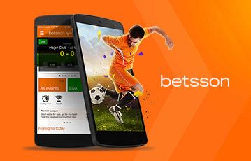 Die besten Online Sportwetten Live betsson zwei smartphones Fussballer mit Ball springt aus Bildschirm
