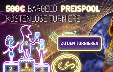 Die besten Casino Spiele Online Illustration Leuchtreklame Croupier Frau Siegertreppe 500 Euro Bargeld Preispool