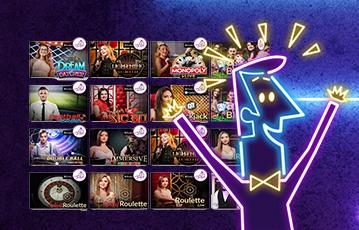 Die besten Casino Spiele Online Live Illustration Leuchtreklame jubelnder Croupier Spieleauswahl