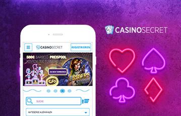 Die besten Casino Spiele Online und mobil smartphone screen casinosecret Illustration leuchtende Kartensymbole