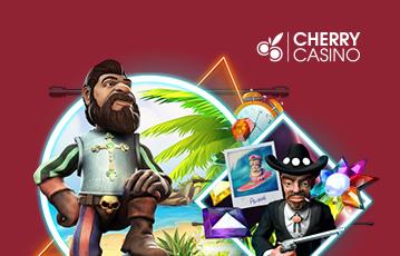Die besten Online Casino Spiele Illustration Spielecharaktere auf Südsee Insel mit Palme Diamanten cherry casino
