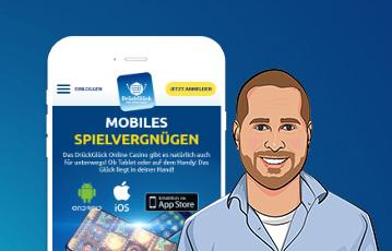 Die besten Online Casino Spiele mobil Illustration smartphone screen drückglück lächelnder Mann