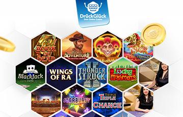 Die besten Online Casino Spiele Automaten Illustration Auswahl Spiele bei drückglück