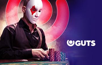 Die besten Online Casino Spiele Poker 3d Charakter Mann mit Maske am Pokertisch mit Pokerchips und Pokerkarten
