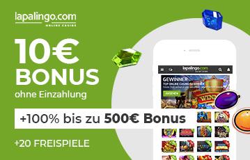 Der beste Online Casino Bonus lapalingo 10 Euro Bonus Illustration smartphone Spieleauswahl Diamanten