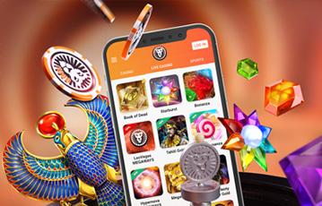 Die besten Online Casino Spiele leovegas Illustration 3D Spielecharaktere Diamanten smartphone screen Spieleauswahl
