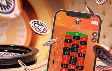 Die besten Online Casino Spiele Live bei leovegas smartphone Roulette Tisch fliegende Pokerchips