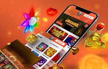 Die besten Online Casino Spiele bei leovegas smartphone screen Speielauswahl Illustration Diamanten
