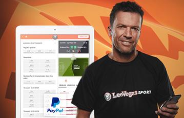 Die besten Online Sportwetten bei leovegas Sport mobile Close-up Oliver Kahn tablet screen Übersicht Spiele Tabellen