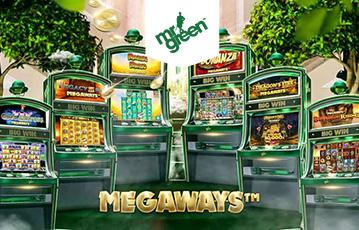 Die besten Online Casino Spiele bei mrgreen sechs grüne Spieleautomaten unter Bäumen megaways