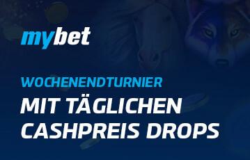 Der beste Online Casino Bonus mybet mit täglichen Cashpreis Drops Illustration Spielefiguren im Hintergrund