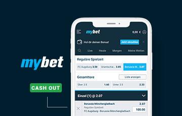 Die besten Online Sportwetten bei mybet smartphone Ansicht screen Tabelle Spielzeiten und cash out