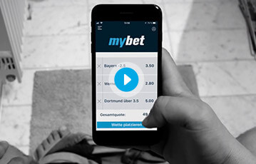 Die besten Online Sportwetten bei mybet smartphone in Hand Ansicht screen Tabelle Sportergebnisse