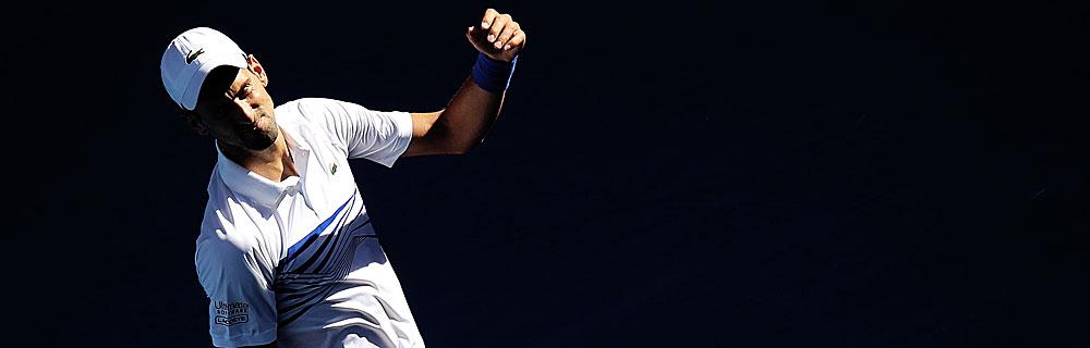Die besten Online Sportwetten Close-up Tennisspieler Djokovic