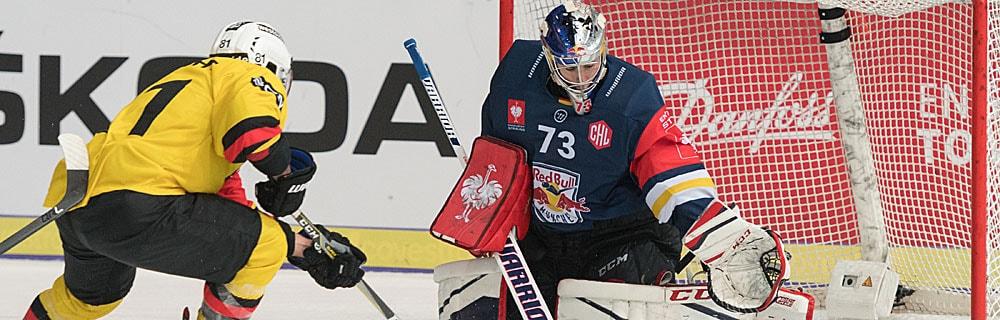 Die besten Online Sportwetten Close-up Eishockeyspieler und Torhüter im Spiel