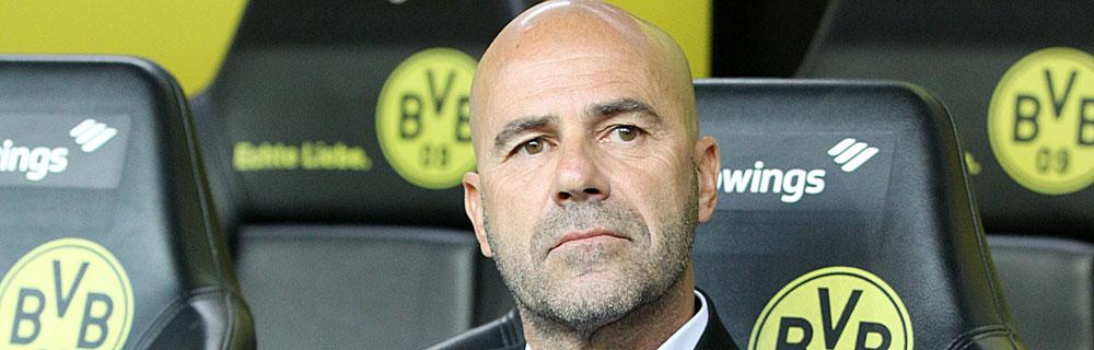 Die besten Online Sportwetten Close-up Gesicht Fussball Trainer Peter Bosz