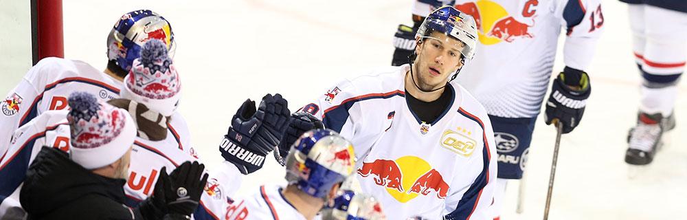 Die besten Online Sportwetten Vogelperspektive vier Eishockeyspieler auf dem Eis high five