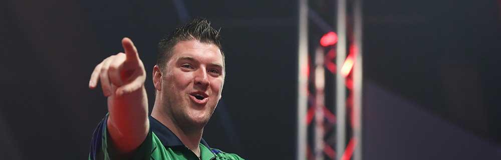 Die besten Online Sportwetten Darts Close-up Gesicht Dartspieler Daryl Gurney